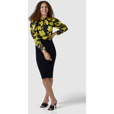 Yellow Puff Sleeve High Neck Blouse