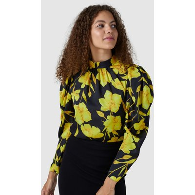 Closet London Yellow Puff Sleeve High Neck Blouse
