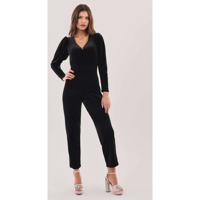 Closet London Black Pleated Sleeve Velour Jumpsuit