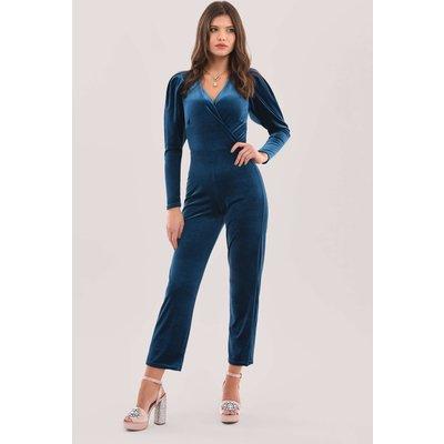 Closet London Blue Pleated Sleeve Jumpsuit