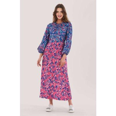 Pink Gathered Neck Midi Dress