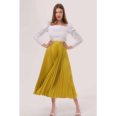 Closet London Yellow Pleated Midi Skirt