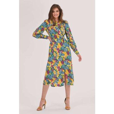 Blue Floral Print Puff Sleeve A-Line Dress