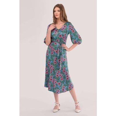 Closet London Blue Asymmetric Hem Floral Print Dress