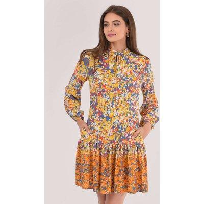 Yellow A-Line Frill Hem Dress