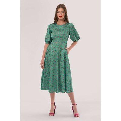 Closet London Green Pleated Sleeve Dress