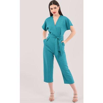 Closet London Blue Wrap Over Tie Front Jumpsuit