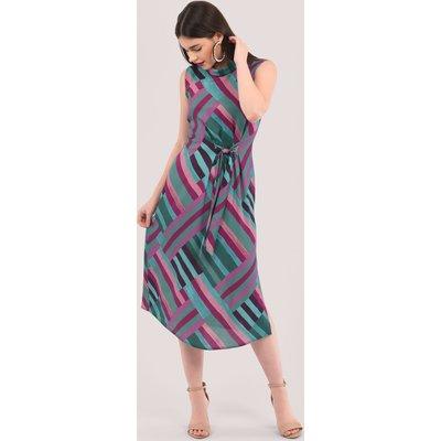 Closet London Green Asymmetrical Pleated Dress