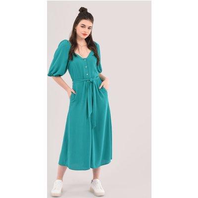 Closet London Green Sweetheart Neck Shirt Dress