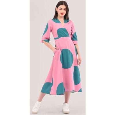 Closet London Pink High-Low Wrap Print Dress