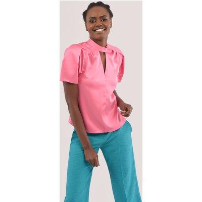 Closet London Pink Pleated Puff Sleeve Blouse