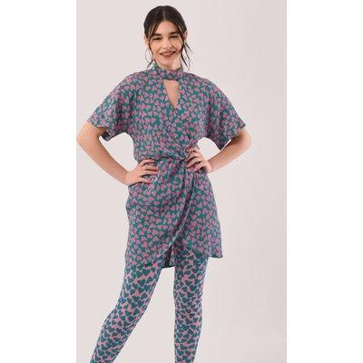 Multi Heart Print Kimono Wrap Pencil Dress