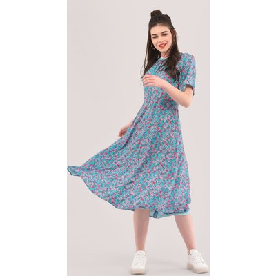 Closet London Blue Rib Neck Full Skirt Dress