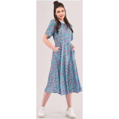Closet London Blue Print Rib Neck Full Skirt Dress