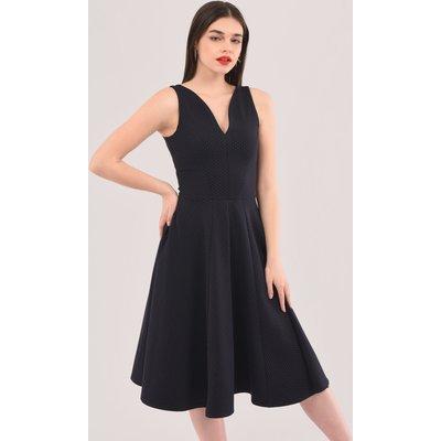 Navy V-Neck Full Skirt Dress