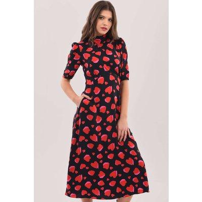 Closet London Red Heart Tie Back A-Line Midi Dress