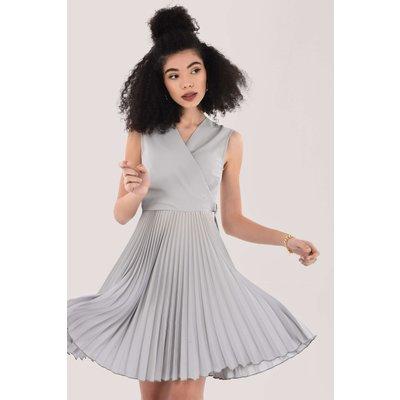 Closet London Silver D-Ring Wrap Full Skirt Dress