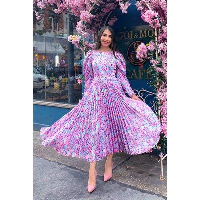 Closet London Blush Print Pleated Dress