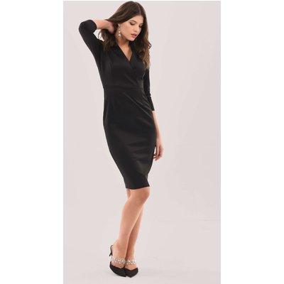 Closet Wrap Pencil Skirt Dress  BLACK