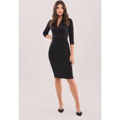 Closet London Black Wrap Pencil Skirt Dress