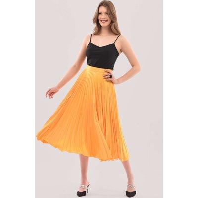 Mustard Pleated Midi Skirt