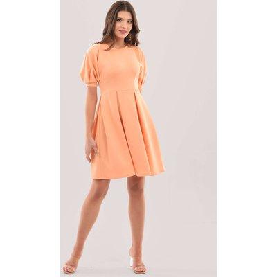 Closet London Peach Kimono Puff Sleeve Full Skirt Dress