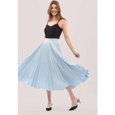 Blue Sunray Pleated Midi Skirt