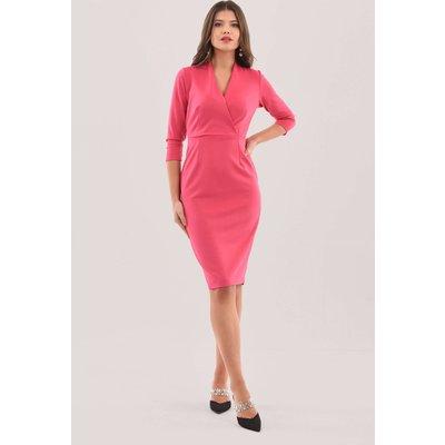 Closet London Pink Wrap Pencil Skirt Midi Dress