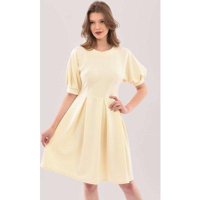 Closet London Cream Kimono Puff Sleeve Full Skirt Dress