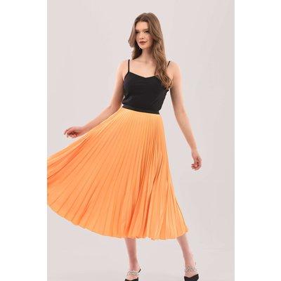 Yellow Sunray Pleated Midi Skirt