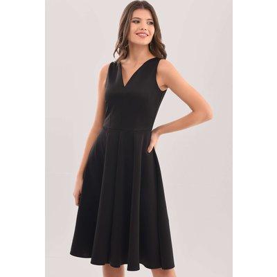 Black V-Neck Full Skirt Dress