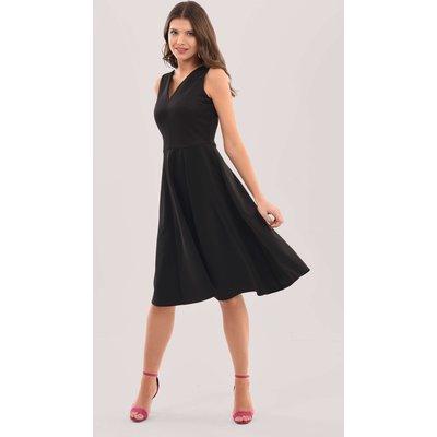 Closet London Black V-Neck Full Skirt Dress
