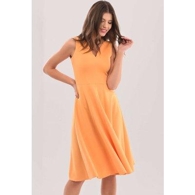 Closet London Orange V-Neck Full Skirt Dress