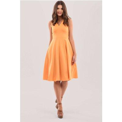 Orange V-Neck Full Skirt Dress
