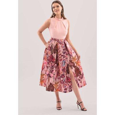 Closet London Blush Floral Full Skirt Midi Dress