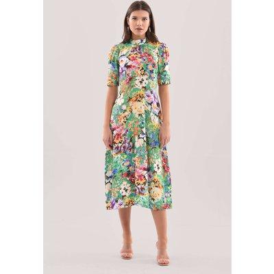 Closet London Green Tie Back Print Midi Dress