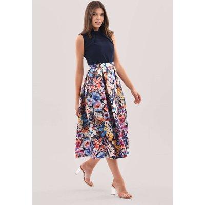 Closet London Navy Floral Full Skirt Midi Dress