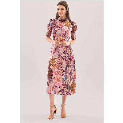 Closet London Pink Tie Back Print Midi Dress