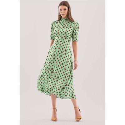 Closet London Lime Tie Back Print Midi Dress