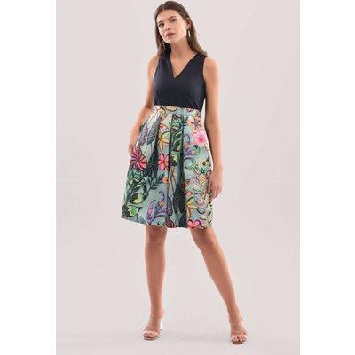 Closet London Green Floral Print Full Skirt Dress