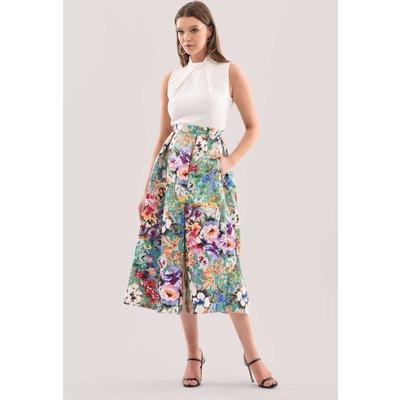 Closet London Green Floral Full Skirt Midi Dress