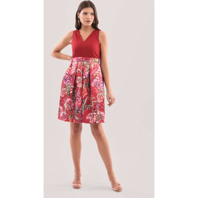 Closet London Red Floral Print Full Skirt Dress