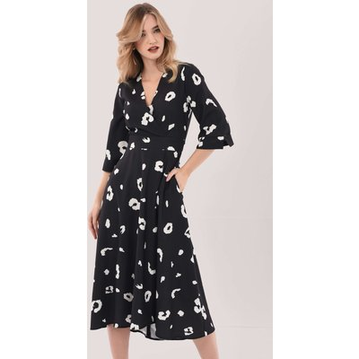Closet London Black High-Low Wrap Print Midi Dress