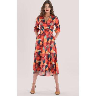 Closet London Orange Wrap Midi Dress