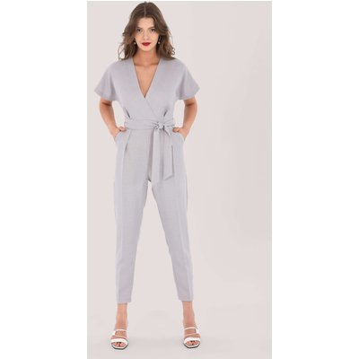 Closet London Grey Pleated Wrap Jumpsuit