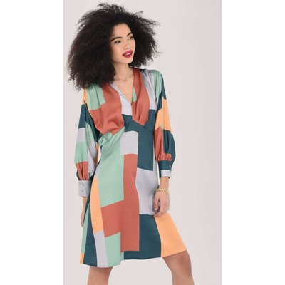 Closet London Green Gathered Kimono Print Dress