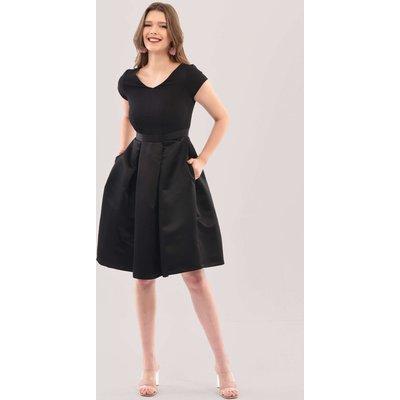 Black 2-in-1 Full Skirt V-Neck Dress