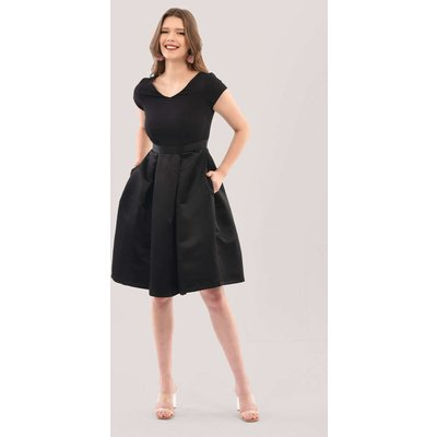 Closet London Black 2-in-1 Full Skirt V-Neck Dress