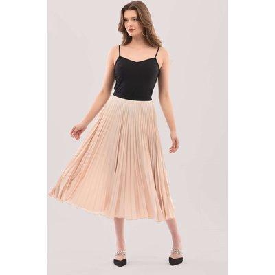 Cream Pleated Midi Skirt