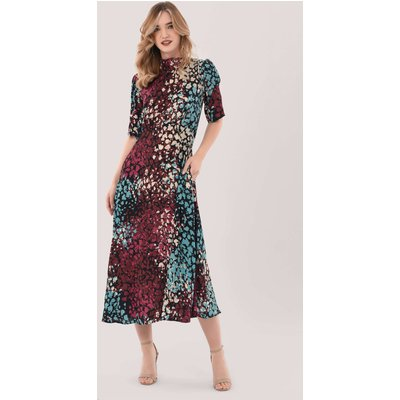 Closet London Multi Print Tie Back A-Line Midi Dress